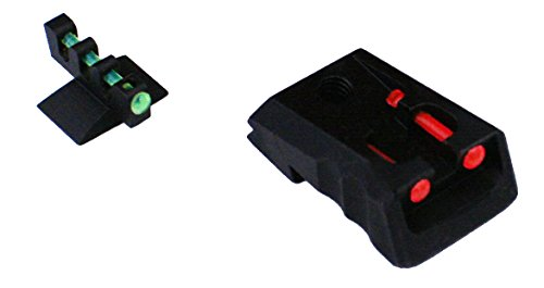 FUSION 1911 Compatible with Kimber Style Fixed Red Fiber Optic Sight Front Green Contour Base Sight Set