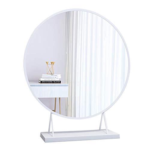Betty & Co Freistehender Desktop-Kosmetikspiegel Gold Runder großer Schminktisch-Schminkspiegel für Schlafzimmer