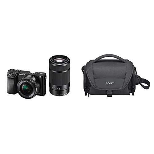 "Sony Alpha 6000 Systemkamera (24 Megapixel, 7,6 cm (3"") LCD-Display) inkl. SEL-P 16-50 mm und SEL 55-210 mm Objektiv, 120 x 66,9 x 45,1 mm, schwarz & LCS-U21 Universal-Tasche für Handycam"
