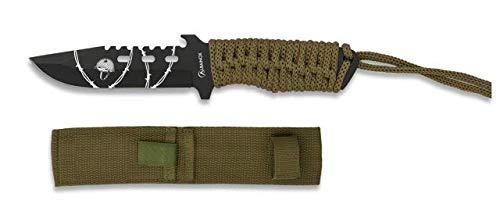 Cuchillo encordado Coyote Total 18 cm para Caza, Pesca, Camping, Outdoor, Supervivencia y Bushcraft Albainox 32417 + Portabotellas de regalo