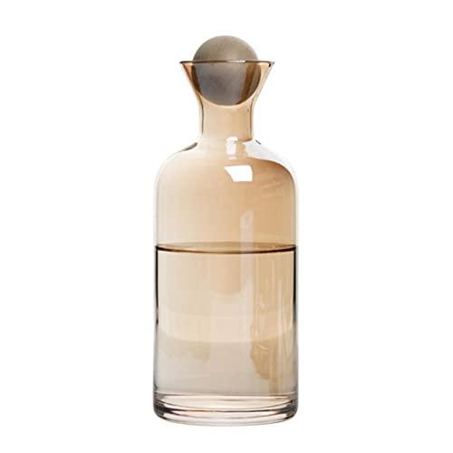 WXDC Tetera de Agua de 1,2 l, Juego de Tetera de Vidrio de borosilicato ámbar con 4 Tazas a Juego, Botella de Vidrio Resistente al Calor, Jarra de Agua