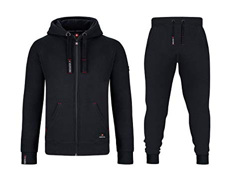 Northster Herren Joggingsuit aus Baumwolle Freizeitanzug Trainingsanzug Hausanzug, schwarz, 5XL