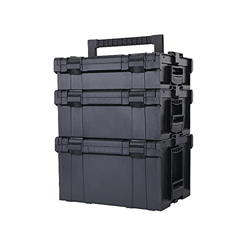 WEISHAN Herramienta de Hardware Multifuncional Caja de Almacenamiento de Taladro eléctrico Caja de Electricista apilable Caja de Mantenimiento portátil Reparación de Herramientas de plástico