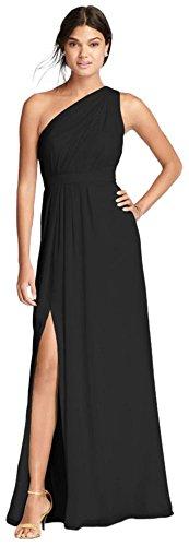 David's Bridal Long One-Shoulder Crinkle Chiffon Bridesmaid Dress Style F18055, Black, 24