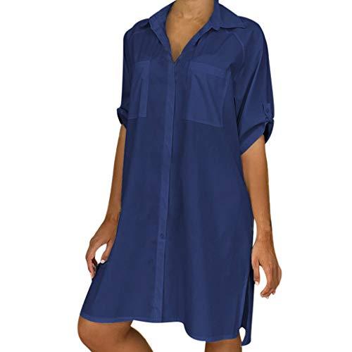 SHINEHUA Blusenkleid Damen V-AusschnittSommerkleid Elegant Kleider Knielang Shirtkleider 1/2 Ärmel...
