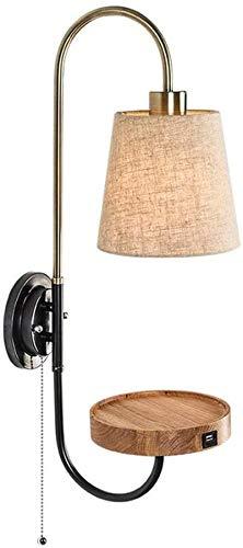 Lámpara de pared de pared con interruptor, diseño minimalista de panel con interfaz de carga USB para dormitorio, sala de estar