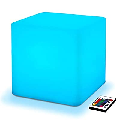 Fancy Outdoor/Indoor Rechargeable Waterproof LED Cube Ambient Light Lamp Lantern, Cordless with Intuitive Remote Control Mesmerizing RGB Color Changing, CE RoHS Certified, Great for Decorative Ambient Lighting Garden Patio Pool Backyard Porch Landscape De