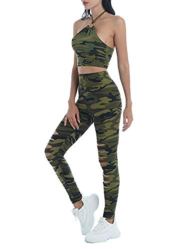 JEATHA 2Pcs Traje Deportivo con Estampado de Camuflaje a la Moda de Verano para Mujer, Pantalones con Diseño Hueco y Rasgado con Cuello Halter para Correr, Gimnasio, Yoga Verde L