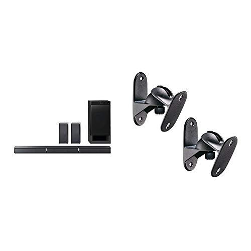 Sony HT-RT3 - Sistema Home Cinema 5.1 Soundbar + Subwoofer + 2 Speaker posteriori, USB, NFC, Bluetooth, ClearAudio+, 600W, Nero & Meliconi Sound 50 Black, Coppia di Supporti per Casse Acustiche