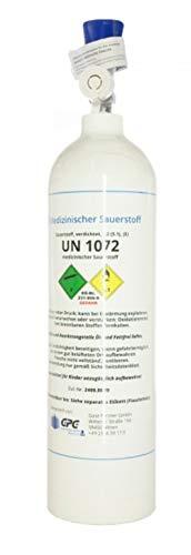 Medizinischer Sauerstoff 2 Liter Aluflasche superleicht, med. O2 nach AMG GOX, 200 bar, NEU & VOLL