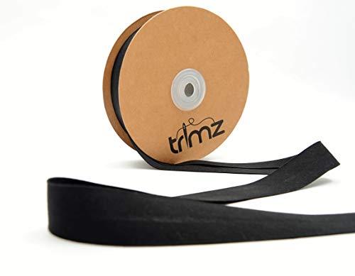 Trimz TCBLK2520 Schrägband aus Baumwollmischgewebe, Schwarz, 25mm x 20m