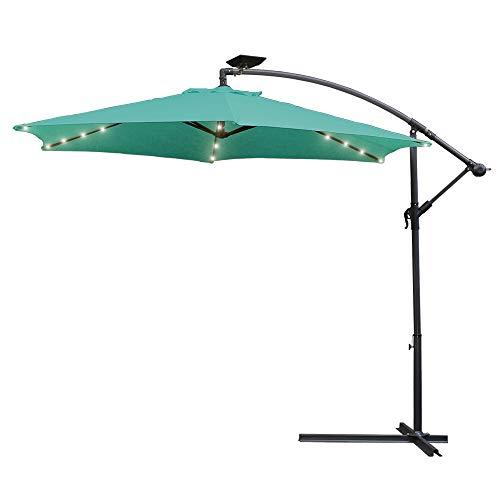 Hengda 350CM Sonnenschirm Ourdoor Solarschirm LED-Regenschirme mit 48 LED-Lichtern,für Garten,Deck,Schwimmbad,Sandstrand