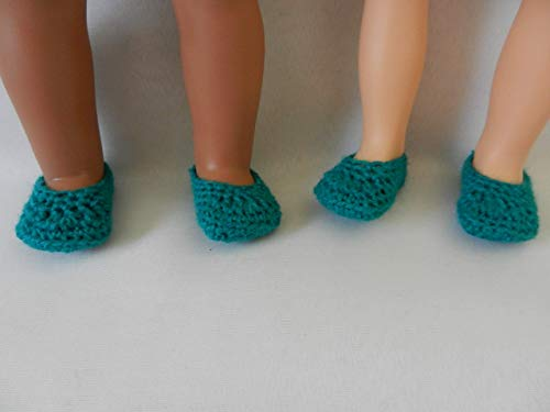 Persian Green Doll Slippers fit American Girl, FAO Swartz, My Life, Journey Girls, Disney Toddler Princess, Baby Alive and other similar size dolls