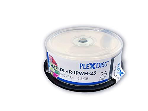 PlexDisc DVD + R DL, 25 pezzi, 8X, 8,5 GB, doppio strato, stampabile a getto d'inchiostro, bianco opaco