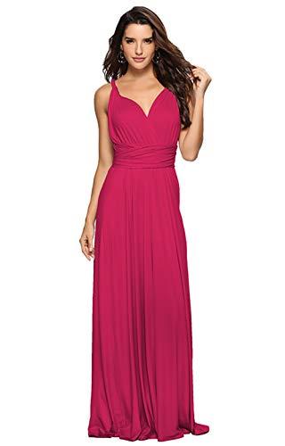 Clothink Women Magenta Multi-Way Strap Maxi Dress XL