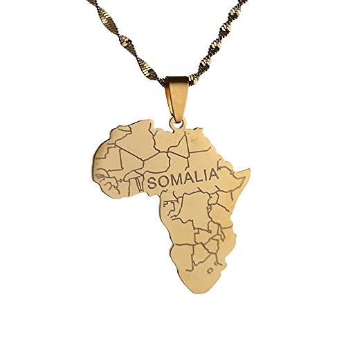 Kkoqmw Mapa de África con Collar con Colgante de Somalia