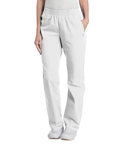 Landau Women's Comfortable Relaxed Fit 2-Pocket Elastic Waist Scrub Pant, White, Medium