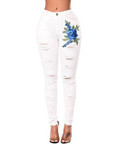 ISSHE Pantalones Vaqueros Cintura Alta Mujer Jeans Rotos Mujer Vaqueros Skinny Slim Pantalon Vaquero Denim Tiro Alto Mujer Jeggings Elasticos Treggings Ajustados Fitness Deportes Blanco 2XL