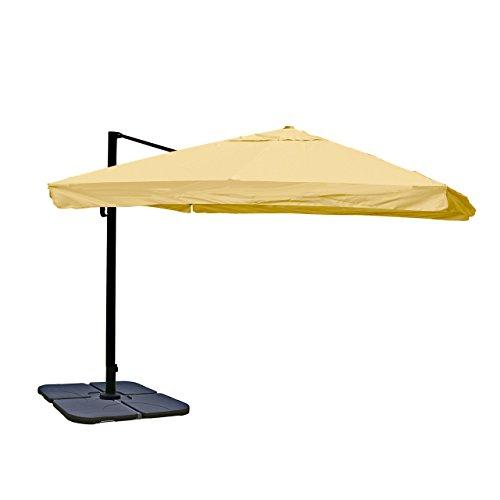 Mendler Ampelschirm HWC-A96, Gastronomie, 3x3m (Ø4,24m) Polyester Alu/Stahl 23kg ~ Flap, Creme mit Ständer