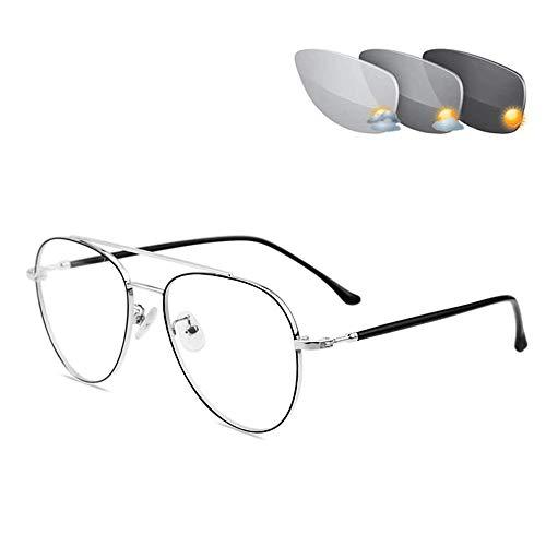 CAOXN Gafas De Lectura De Enfoque Múltiple Progresivas Fotocromáticas Inteligentes, Gafas De Sol De Transición De Aviador para Hombres, Gafas De Lectura, Lupa,Plata,+1.00