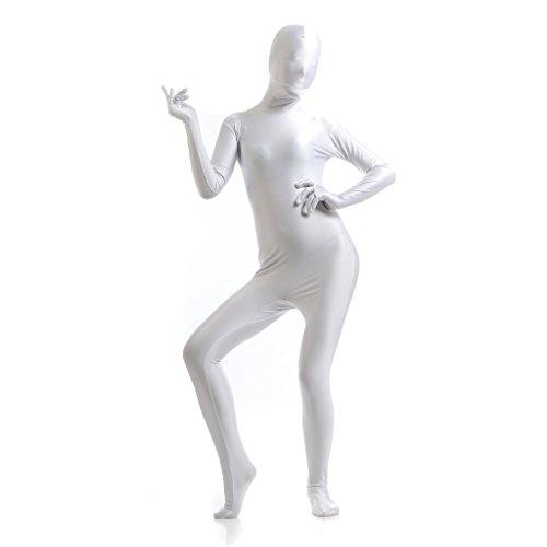 Funsuit Ganzkörperanzug Anzug Suit Kostüm Lange Ärmel Bodysuit Kostüm - weiß, l