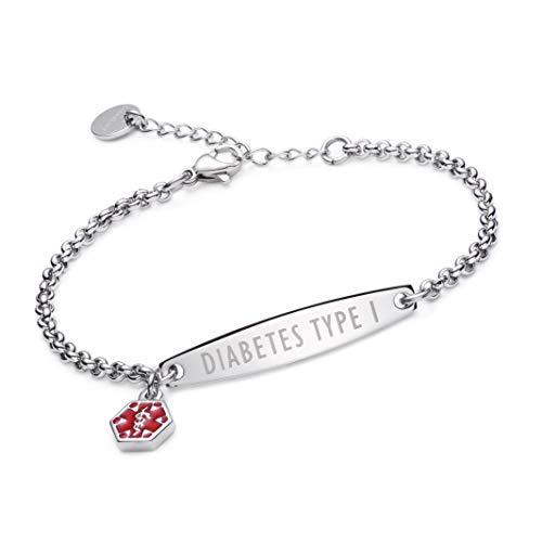 linnalove-Pre-Engraved Simple Rolo Chain Medical Alert id Bracelet for Women-Diabetes Type 1