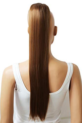 PRETTYSHOP 60cm Haarteil Zopf Pferdeschwanz Haarverlängerung Glatt Mittelbraun H605