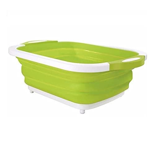 LOEMWJ Cubo plegable multifunción plegable tabla de cortar de plástico, escurridor plegable para fregadero de cocina, escurridor plegable (color verde)