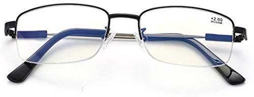 YOUFUDE Gafas de Lectura Gafas de Lectura, luz Azul Bloqueo de Las Lentes, multifocal progresiva, Titanio Memoria del Material, Gafas de Montura metálica for Hombre Mitad, Classic Collection, Lentes