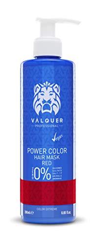 Válquer Professional Mascarilla Power Color cabellos teñidos. Vegano y sin sulfatos (Rojo). Potenciador color pelo- 275 ml