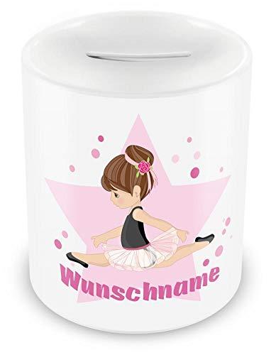 Samunshi® Kinder Spardose mit Namen und Ballerina als Motiv für Kinder - Jungen und Mädchen Sparschwein weiß