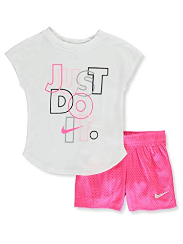 Nike Girls' Glitter Just Do It 2-Piece Shorts Set Outfit - Hyper Pink, 6