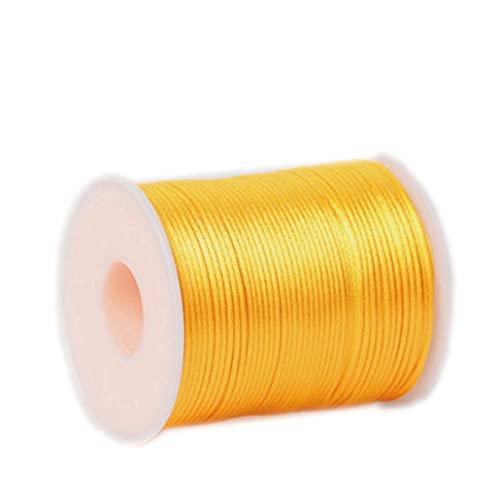 Cordones trenzados, cuerda de poliéster utilizada para hacer manualidades, manualidades, tejer a mano, costura, pulseras, collares, artesanías, etc., 1,5 mm, 100 m/rollo (amarillo)