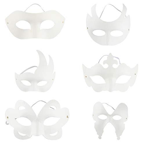 Juvale masker DIY – zwart 12 pakketten halfmasker voor Halloween-kostuum, 6 tekeningen