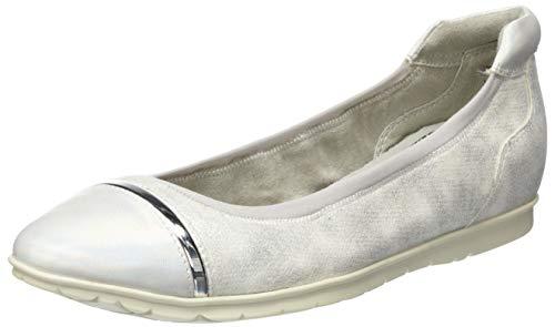 Tamaris Damen 1-1-22109-24 Geschlossene Ballerinas, Silber (Silver Comb 948), 39 EU