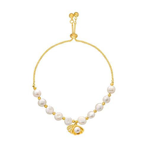 yqs Pulsera Pulsera clásica Concha de Perlas Naturales Mujer joyería Estudiante Pulsera