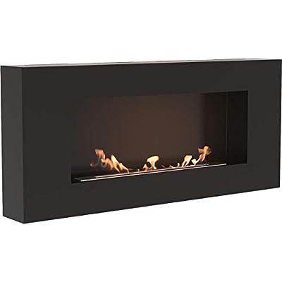 Kratki Delta Flat Bio Ethanol Fireplace [TÜV Certified] Black - Ventless Wall Mounted Indoor Heater