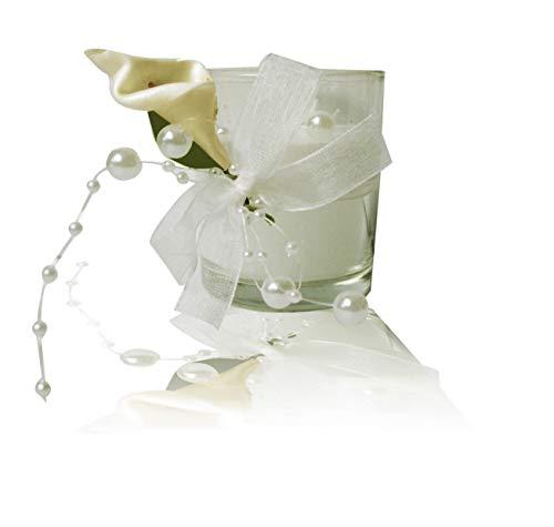 K7plus® 4er Teelicht mit Kerze im Glas mit Schleifen und Perlen – 4 x Calla – wunderschöne weisse Tischdeko für Hochzeiten, Feiern, Feste (4 x Calla im Glas)