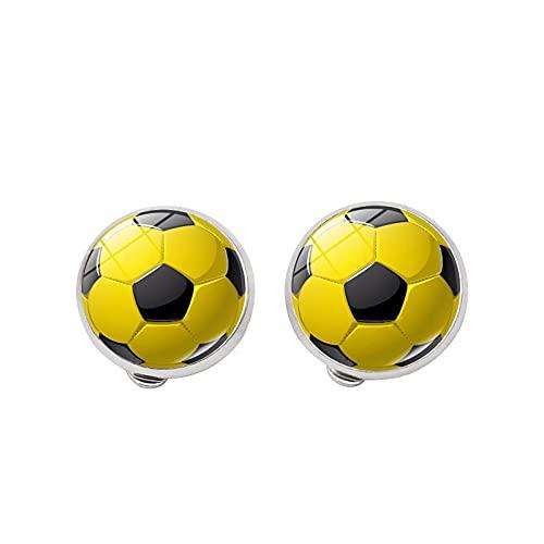 Pendientes de fútbol con diseño de balón de fútbol de voleibol, fotos hechas a mano, lindo clip para los amantes de la bola de los niños