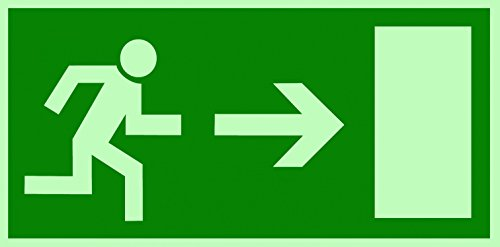 Schild Notausgang Pfeil rechts langnachleuchtend 297x148mm PVC selbstklebend gemäß BGV 8A (Fluchtwegschild Notausgang Rettungszeichen Rettungsweg Rettungsschild)
