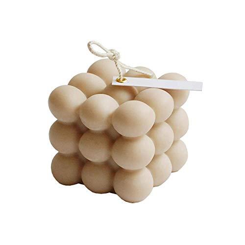 Vela perfumada cubo de rubik, decoración de cumpleaños cera de soja pura, regalo casero geométrico de mano