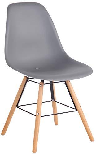 CLP Gartenstuhl Tippo Mit Kunststoff-Sitzschale I Kunststoffstuhl Mit Rückenlehne I Sitzhöhe Von 45 cm I Buchenholzgestell, Farbe:grau, Gestell Farbe:Natura