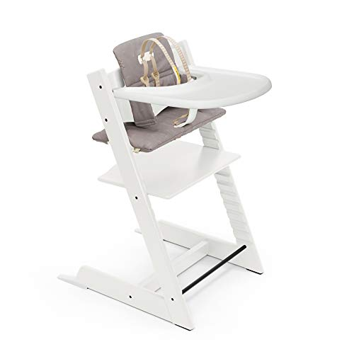 Tripp Trapp High Chair and Cushion with Stokke Tray - White with Icon Grey - Adjustable, Convertible, All-in-One High Chair for Babies & Toddlers
