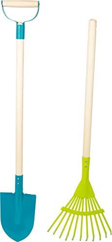 small foot 11626 Gartenwerkzeug-Set Duo mit Holzstiel, inkl. Spaten und Rechen, Outdoor Gartengeräte für Kinder ab 3 Spielzeug