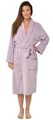"Leisureland Women's Fleece Shawl Collar Plush Bathrobe 47"""