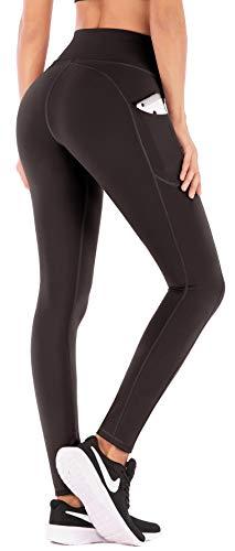 IUGA Pantalones de yoga de cintura alta con bolsillos, control de la barriga, pantalones de entrenamiento para mujeres 4 vías estiramiento Yoga Leggings con bolsillos - Marrón - Large