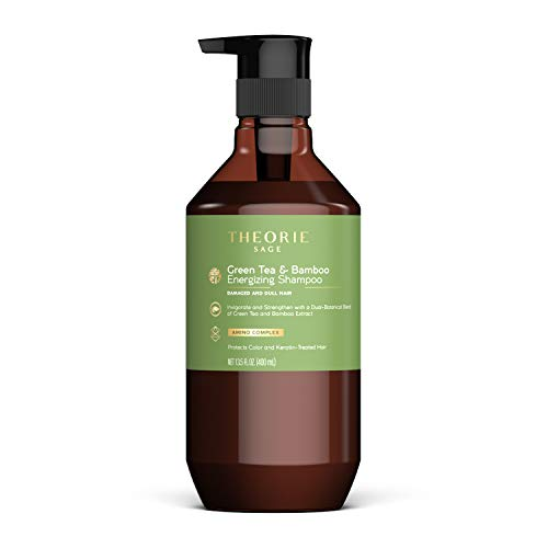 THEORIE Green Tea and Bamboo - Energizing Shampoo - Invigorate & Strengthen, Irresistible Scent of Green Tea, Jasmine, Amber & Cypress - For Damaged & Dull Hair - Color & Keratin Safe , 400mL