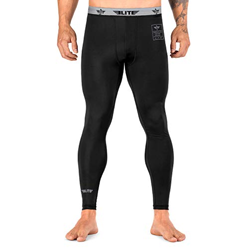 Elite Sports Men's BJJ Spats Leggings Tights, Best Jiu Jitsu MMA no Gi spat Compression Pants for Men (Black, X-Large)