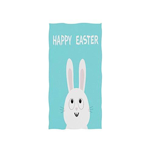 LREFON Toallas Happy Easter Bunny Rabbit Head Picaboo Kawaii Personaje de Dibujos Animados en Color Azul Pastel para la Ducha,Toallas de baño,Deportes al Aire Libre