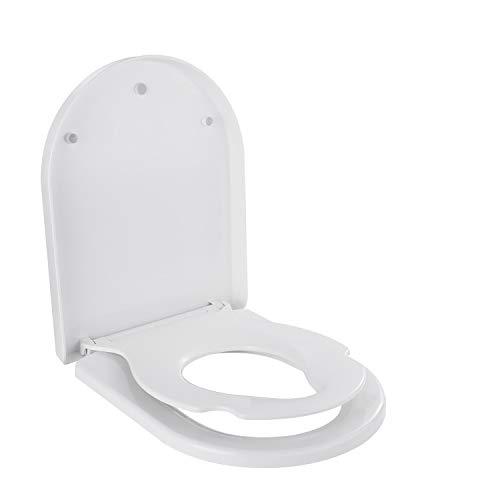 Dalmo D-Form Toilettendeckel Kinder und Erwachsene mit integriertem Kindersitz, Absenkautomatik Funktion, abnehmbarer Familien Toilettensitz, Befestigung von oben, WC Sitz Kinder aus PP-Material, Weiß